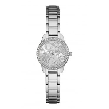 GUESS Ladies Silver Watch with Crystal Detailing