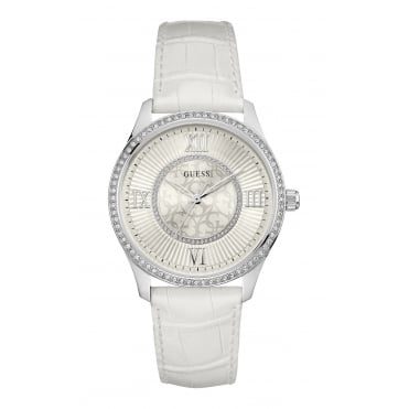 GUESS Ladies Silver Watch with White Dial and White Croco Leather Strap
