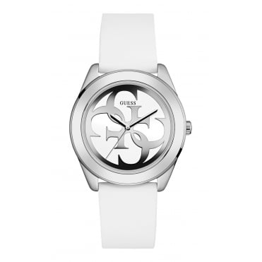 GUESS Ladies Silver Watch with White Logo Dial and White Silicone Strap.