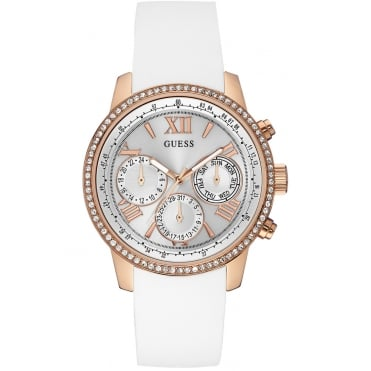 Ladies Sunrise Round White Multi Dial and Rose Gold Bezel with a Silicon Strap