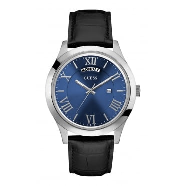 GUESS Mens black crocodile leather watch with a blue dial