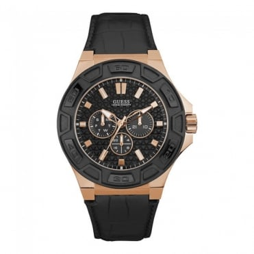 Mens 'Force' Round Black/Rose Dial with a Black Crocodile Strap