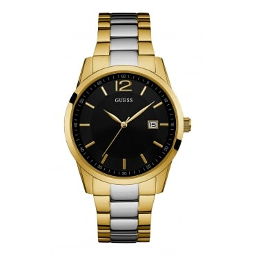 Mens Gold Watch with Black Dial and Silver and Gold Bracelet