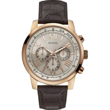 Mens Horizon Round Rose Dial with Brown Strap