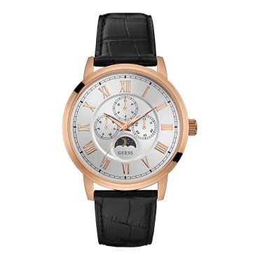 GUESS Mens Rose Gold Watch with Black Crocodile Strap