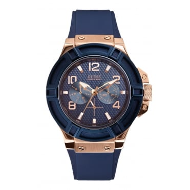 GUESS Mens Silicone Blue Strap Watch