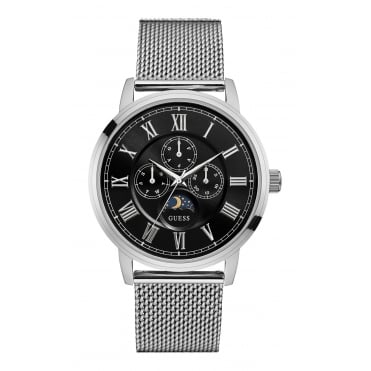 GUESS Mens Silver and Black Watch with Silver Mesh Bracelet