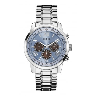 GUESS Mens Silver Bracelet Watch with a Blue Dial