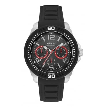 GUESS Mens Silver Watch with Black Multifunctional Dial and Black Silicone Strap