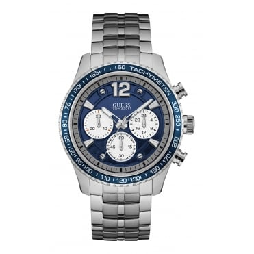 GUESS Mens Silver Watch with Blue Chronograph Dial and Silver Bracelet.