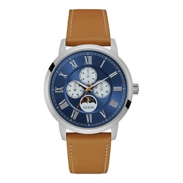 GUESS Mens Silver Watch with Blue Multifunctional Dial and Leather Strap.