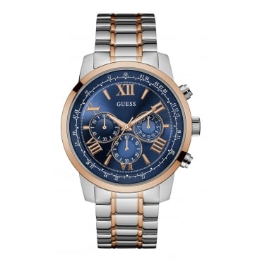 GUESS Mens Silver Watch with Gold Trim, Blue Chronograph Dial, and Rose Gold and Silver Bracelet.