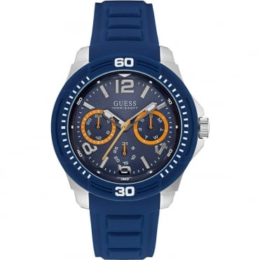 GUESS Mens Watch with Blue Dial and Blue Silicone Strap