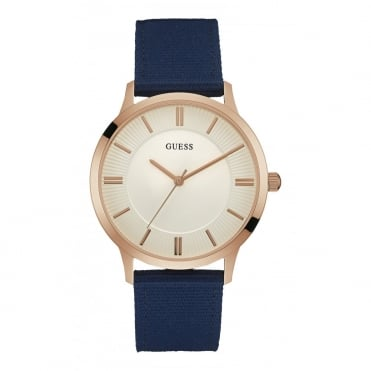 GUESS Mens Watch with White Dial and Blue Canvas Strap