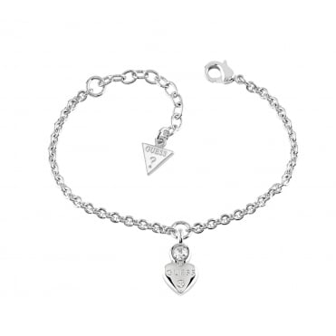 GUESS Rhodium Plated Bracelet Features a Dainty Heart Charm with Embedded Swarovski® Crystal Detail. Adjustable chain length 6.75 - 8.2