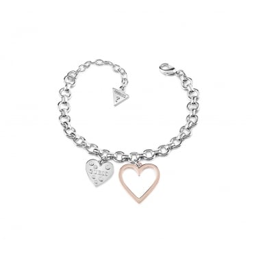 Rhodium plated bracelet features a nice and visible circle chain with two charms rhodium plated heart with Swarovski® crystals