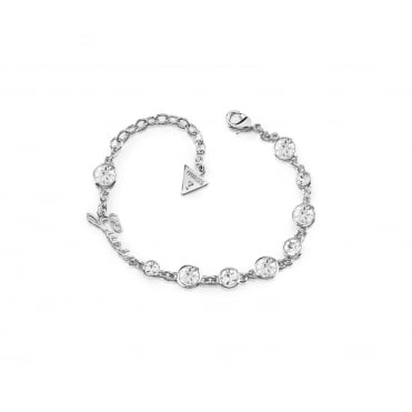 Rhodium plated bracelet features multi crystals in different dimensions that give a sparkling effect and set on a chain.