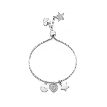 Rhodium plated friendhsip bracelet features a shiny chain with three moving charms.