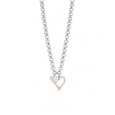 Rhodium plated necklace features a nice and visible circle chain with two charms.