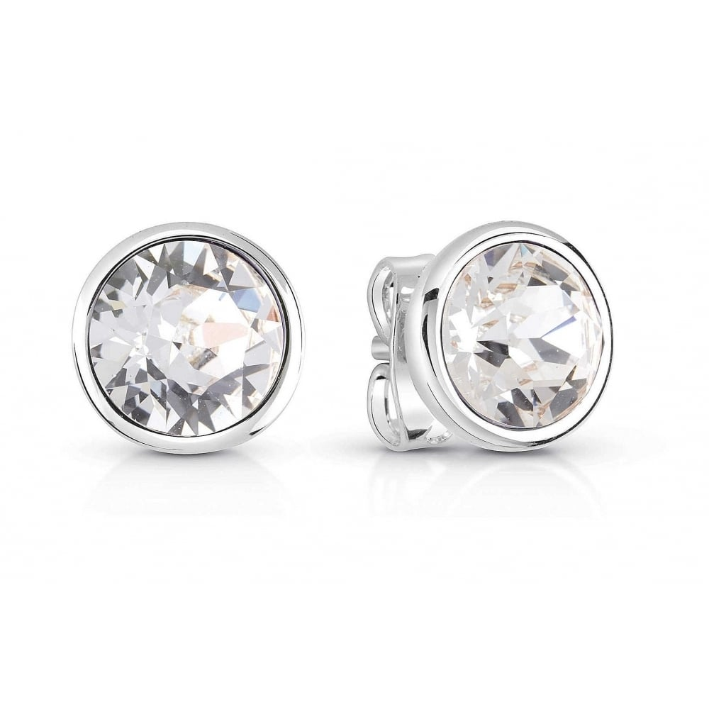 9b11ea543 Silver plated studs earrings featuring clear round Swarovski®crystals