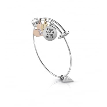 Rhodium Plated 'Youth Tonic' Multi Coin Expanding Bangle