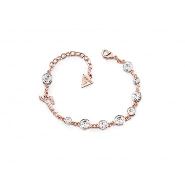Rose gold plated bracelet features multi crystals in different dimensions that give a sparkling effect and set on a chain.