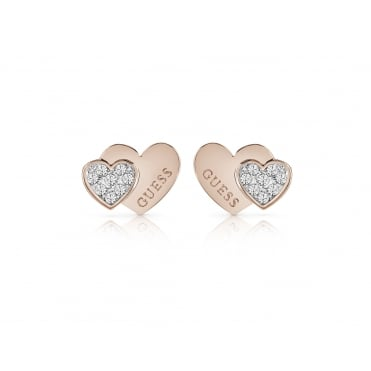 Rose Gold Plated 'Me + You' Double Swarovski Crystal Heart Studs