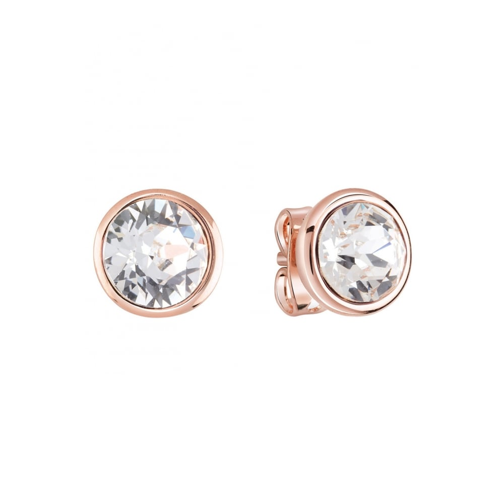 5d4216fc2 Rose gold plated studs earrings featuring clear round Swarovski®crystals