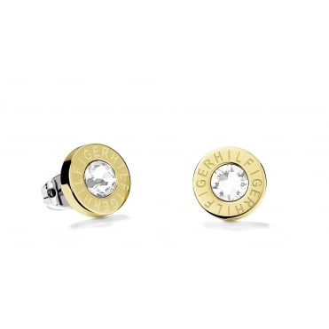 Ladies Gold Plated Tommy Hilfiger Round Logo Studs