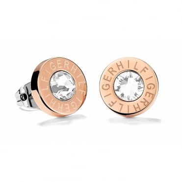 Ladies Rose Gold Plated Tommy Hilfiger Round Logo Studs