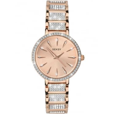 Ladies Seksy Aurora Rose Gold Plated Swarovski Crystal Bracelet Watch