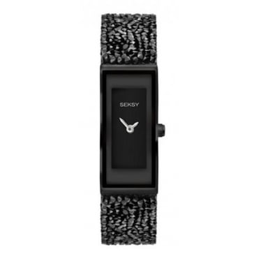 Ladies Seksy Rectangular Black Dial Black Bezel Watch