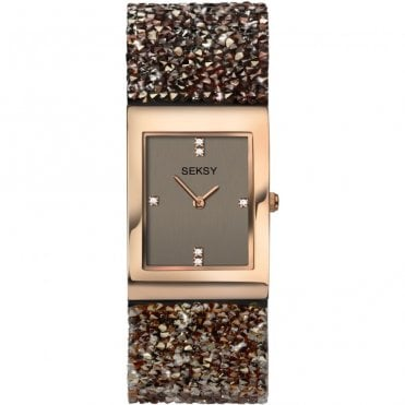 Ladies Seksy Rocks 2580 Rectangular Grey Dial Rose Bezel Brown/Bronze Swarovski Crystals Watch