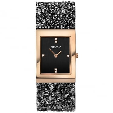 Ladies Seksy Rocks 2581 Rectangular Black Dial Rose Bezel Swarovski Crystals Watch