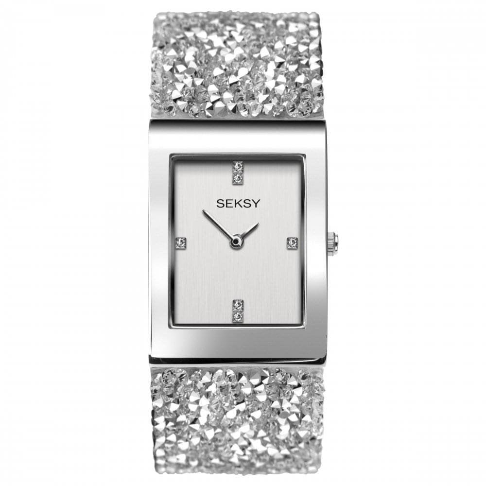 Ladies Seksy Rocks 2652 Rectangular Silver Dial and Silver Swarovski  Crystals Watch f3bc514e24ba