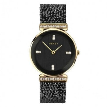 Ladies Seksy Rocks 2655 Circle Gold Bezel and Black Swarovski Crystals Watch