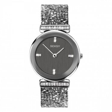Ladies Seksy Rocks 2657 Circle Silver Bezel and Silver Swarovski Crystals