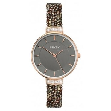 Ladies Seksy Round Black Dial Rose Bezel Black Swarovski Crystals Watch