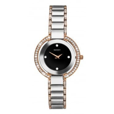 Ladies Seksy Round Black Dial Rose Watch