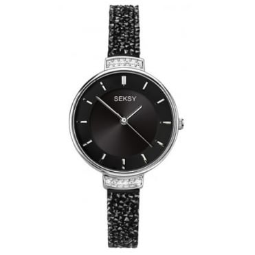 Ladies Seksy Round Black Dial Swarowski Crystal Strap Watch