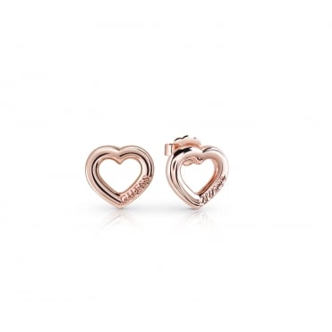 Rose gold plated studs feature a cute heart frame in a bolder and shiny look with GUESS logo engraved.