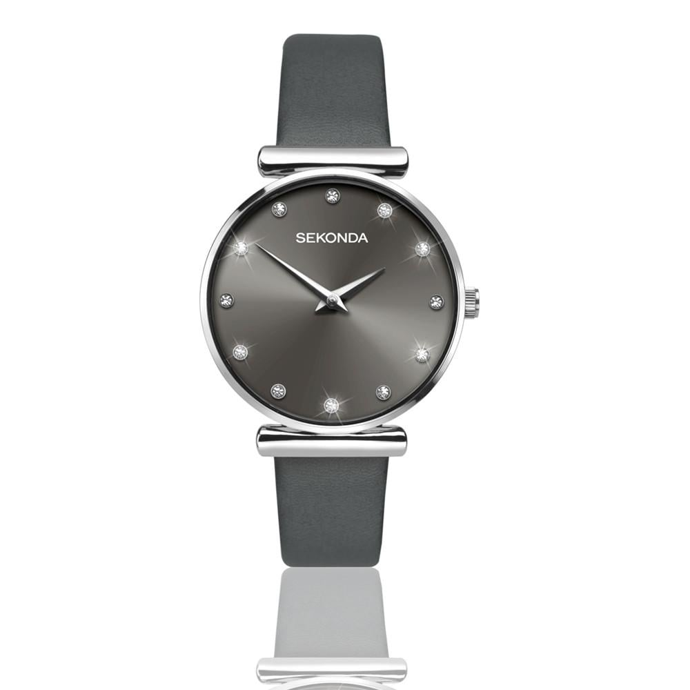 sekonda watch watches ladies leather from strap crystal grey image