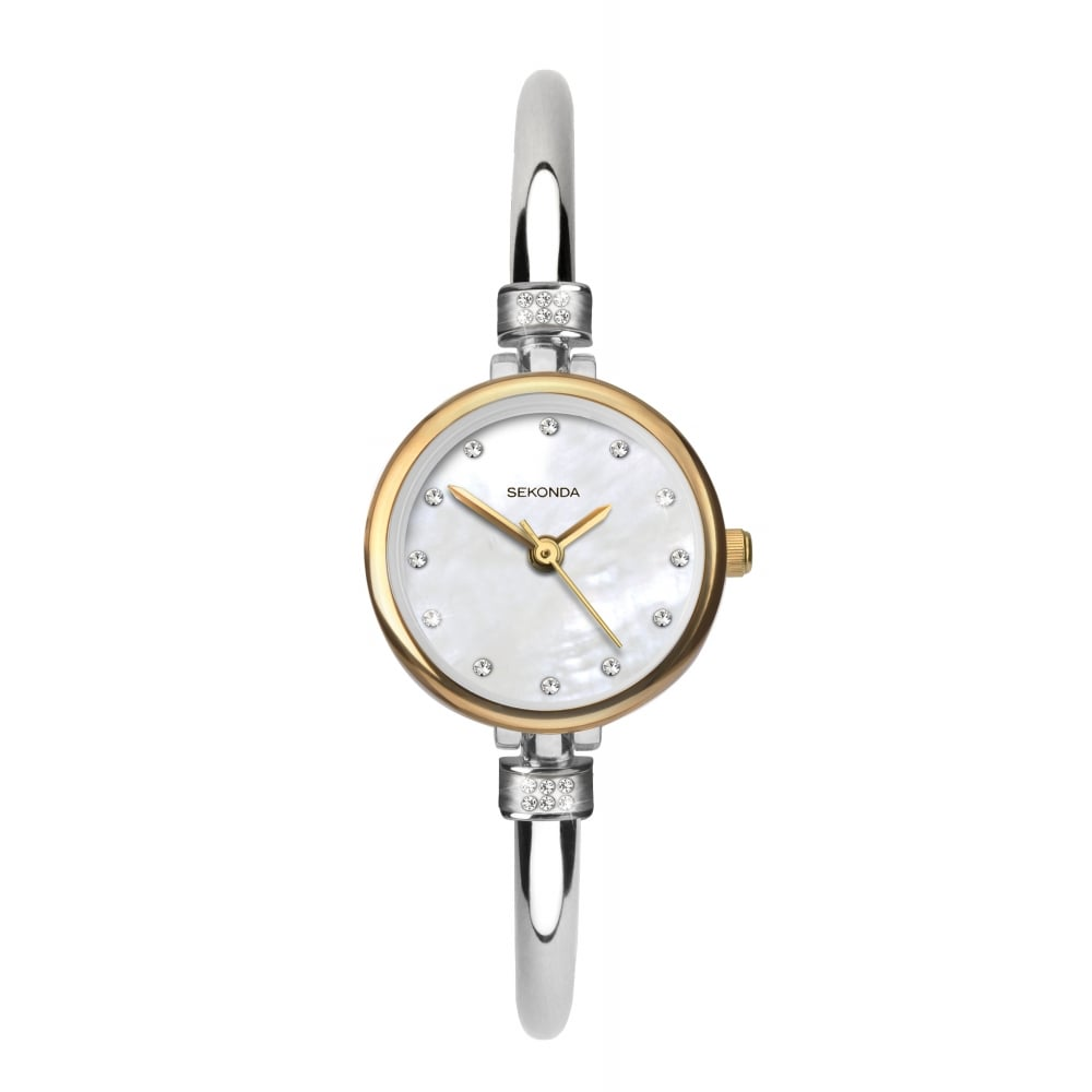 Sekonda ladies round mother of pearl dial stainless steel bangle watch for Ladies bangle watch
