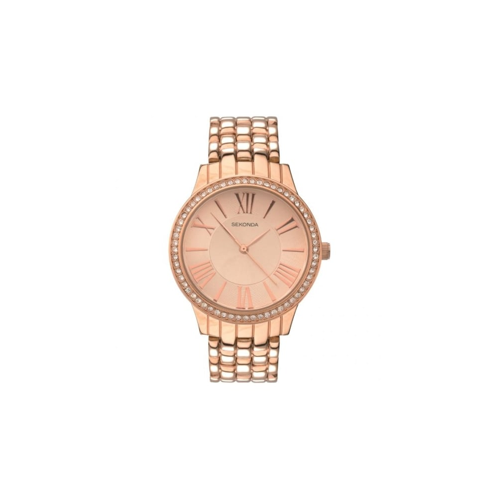 554e4faffaa Sekonda Ladies Stone Set Rose Gold Bracelet Watch