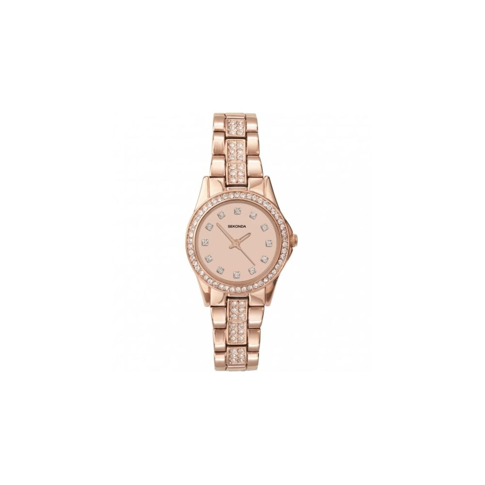0b425f18d9f Sekonda Ladies  Stone Set Rose Gold-Plated Bracelet Watch