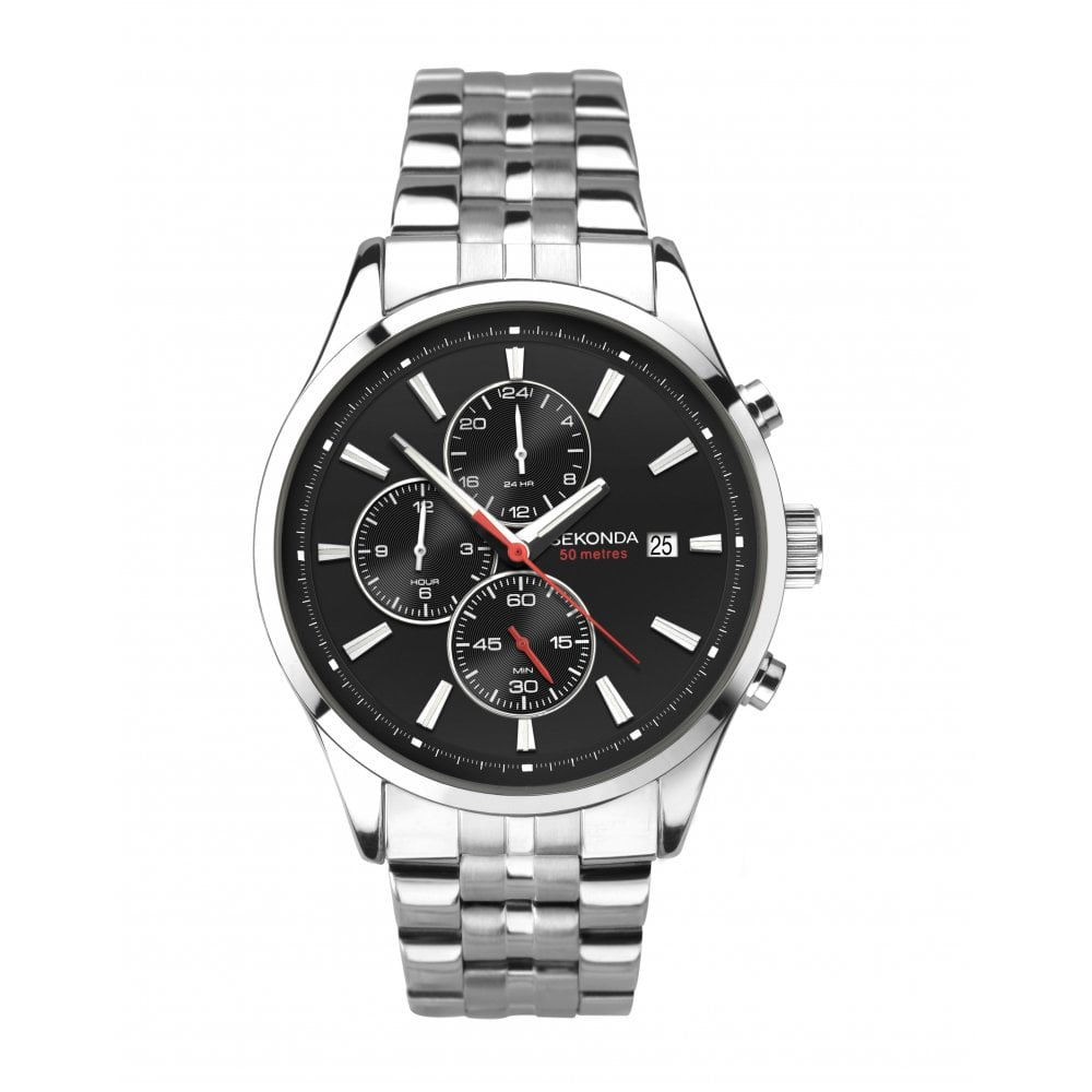 3732de6c36 Mens Round Black 50M Date Chronograph Dial Stainless Steel Bracelet Watch