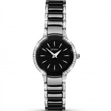 Seksy Ladies' Entice Swarovski Black Ceramic Watch