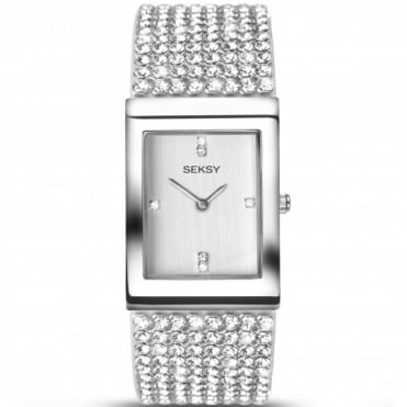 Seksy Ladies' Krystal Rhodium-Plated Bracelet Watch