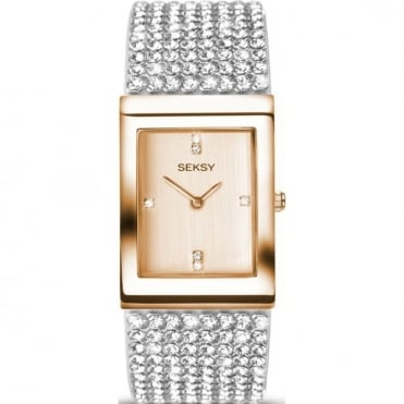 Seksy Ladies Krystal Rose Gold-Plated Bracelet Watch