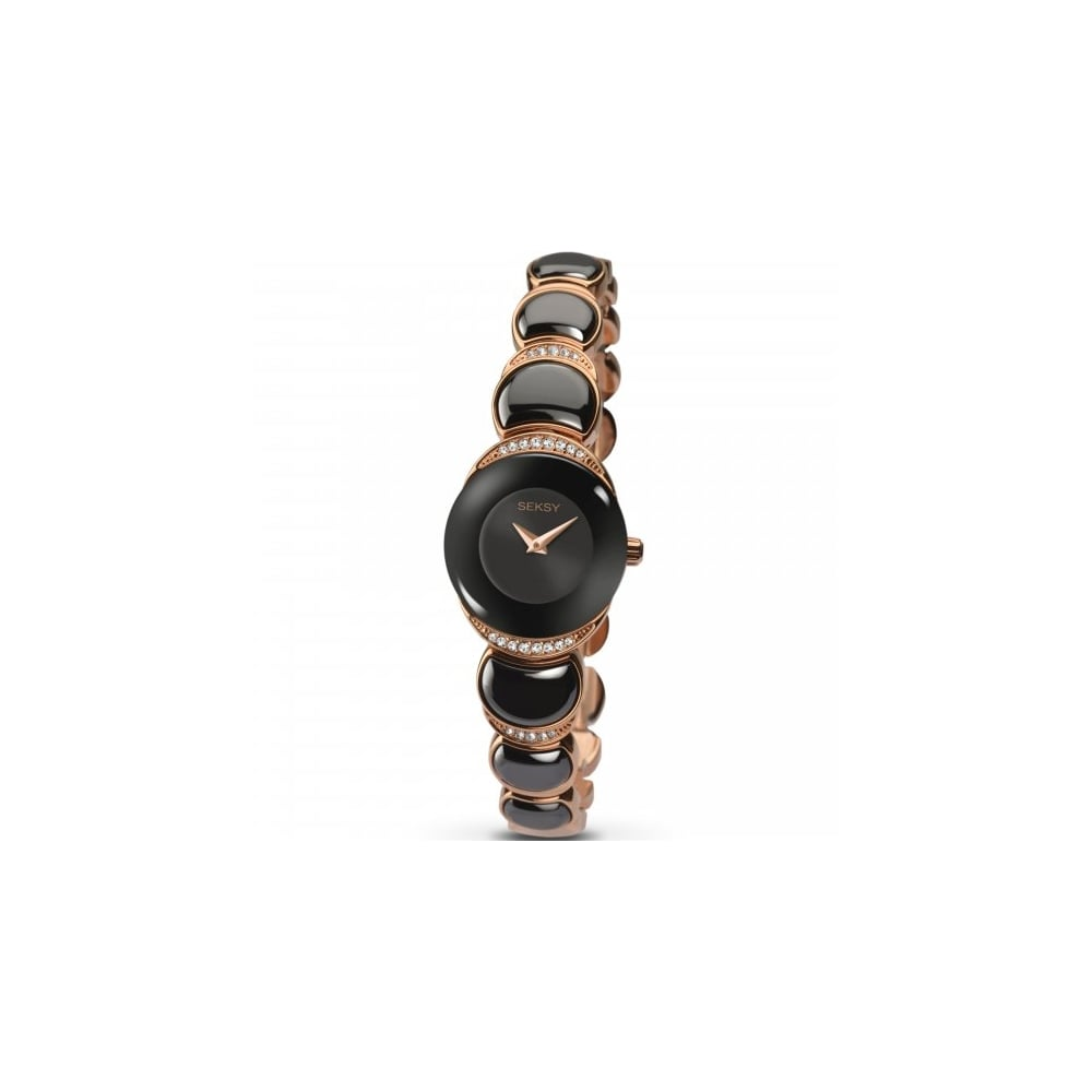 Seksy Ladies Rose Gold Plated Black Bracelet Watch Watches From Eternity The Jewellery Store Uk